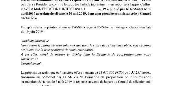 COMMUNIQUE – Réponse de l'ASSN aux propos diffamatoires tenus à l'encontre de sa Présidente par le site Confidentiel Afrique